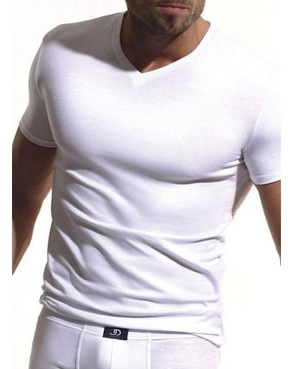 Мъжка тениска шпиц деколте с къс ръкав