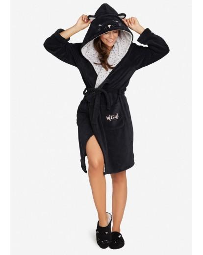 Топъл дамски халат с качулка 38225