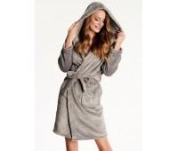 Топъл дамски халат с качулка 38281