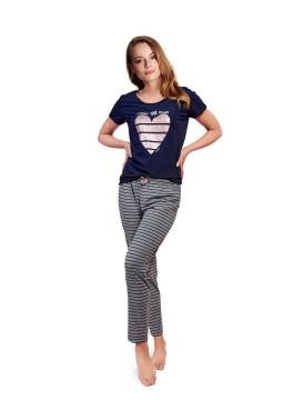 Дамска памучна пижама със щампа сърце 38247
