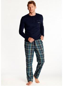 Луксозна мъжка пижама с дълъг ръкав 38360 blue