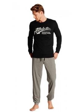 Мъжка памучна пижама с дълъг ръкав 38376 black