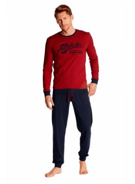 Мъжка памучна пижама с дълъг ръкав 38376 red