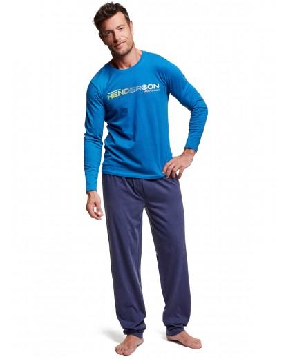 Мъжка пижама с дълъг ръкав 37300 синя