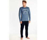Мъжка памучна пижама с дълъг ръкав 38374