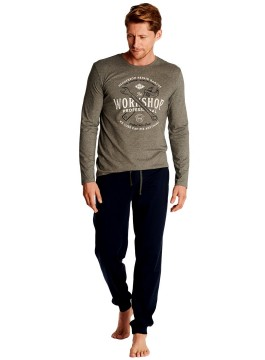 Мъжка пижама с дълъг ръкав 38379 сива