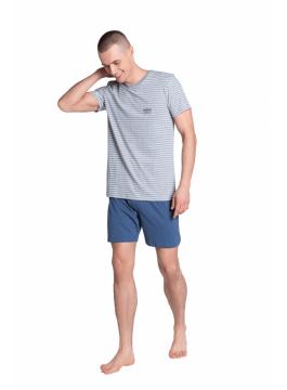 Мъжка пижама с къс ръкав и къси панталони 38775 сива