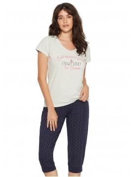 Памучна пижама с къс ръкав 38053